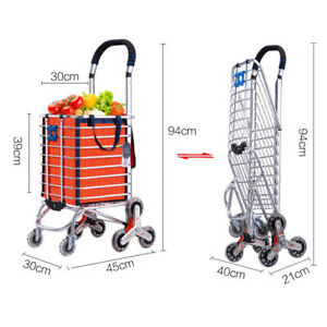 Multipurpose Shopping Grocery Cart Folding Laundry Basket Stair Climb Stylish Fs