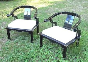 Pair Of Mid Century Asian Oriental James Mont Black Lacquer Horseshoe Armchairs