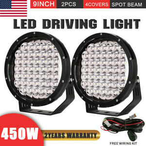 450w 9inch Pair Cree Spot Round Led Driving Light Work Headlights Black Offroad
