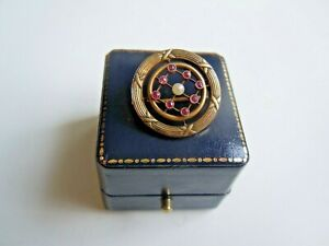 Rare Russian 56 Gold Brooch With Ruby Stones And Pearl By K Faberge Design