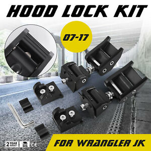 2pcs Hood Lock Latch Bracket Buckle Hold Down For Wrangler Jk Unlimited 2007 17