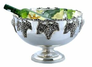 Punch Bowl Silver Plated Ice Bucket Champagne Wine Cooler Grape Bar