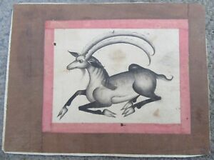 18th Century Antique Persian Zand Miniature Painting Drawing Study Black Buck