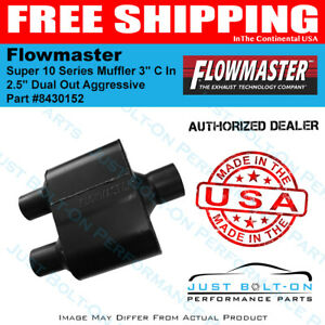 Flowmaster Super 10 Series Muffler 3 C In 2 5 Dual Out Aggressive 8430152