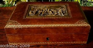Antique French Jewelry Box Wood And Leather