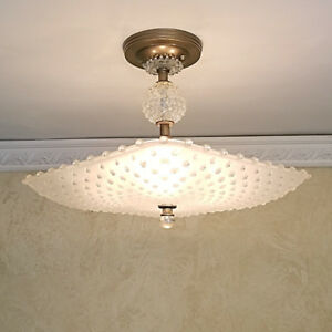 563 Vintage Quality Hobnail Ceiling Light Lamp Fixture Chandelier 1 Of 2