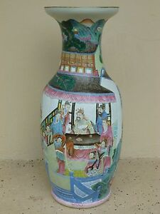 Stunning Large 24 5 19th C Chinese Famille Rose Vase With Good Decoration