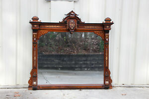 Gorgeous Large Walnut Victorian Renaissance Revival Mantle Mirror Ca 1870