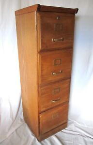 Retro Vintage Wooden 4 Drawer Tall File Filing Cabinet Local Pick up Only