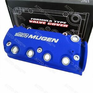 Blue Mugen Style Type R Engine Valve Cover For 1992 1995 Honda Civic Sohc Vtec