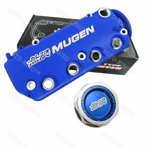 Blue Mugen Racing Rocker Engine Valve Cover W Oil Cap For Honda Civic Vtec Sohc