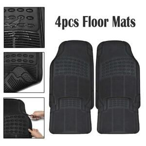 2x Car Floor Mats For All Weather Rubber 4pc Set Semi Custom Fit Heavy Duty