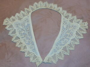 Fine Antique Handmade Eyelet Lace Collar Natural Edru Cotton Lovely Motif