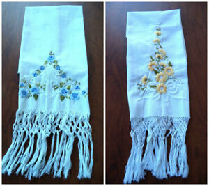 2 Stunning Vintage Antique Show Towels 6 Hand Tied Fringe Floral Embroidery