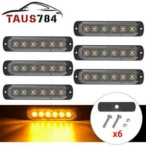 6x Yellow 6led Emergency Car Side Marker Light Trailer Warn Flash Strobe Lights