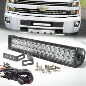 Custom Fit 15 Up Chevy Silverado 2500 3500hd Front Bumper 96w Led Light Bar Kit