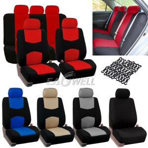 9pcs Universal Car Seat Covers Front Rear Head Rests Full Set For Suv Auto 2019