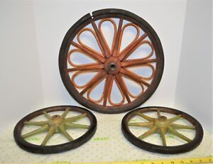 3 Antique Primitive Buggy Cart Wagon Wheels Old Farm Wood Red Green 10