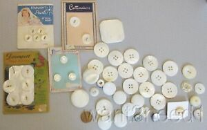 Big Mixed Lot 50p Mother Of Pearl Buttons Mop Shell Heart Old Cards