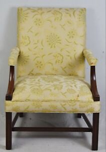Hickory Chair Chippendale Mahogany Upholstered Arm Chair Williamsburg Style