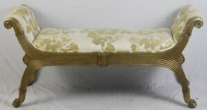 Marge Carson Bench Ottaman Gold Gilt Reeded Frame Paw Feet Florial Fabric