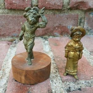 2x Antique Victorian 19th C Gilt Gilded Metal Clock Finial Figures Brass Nice