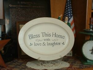 Primitive Farmhouse Shabby Chic Decorative Bless This Home Oval Wood Platter