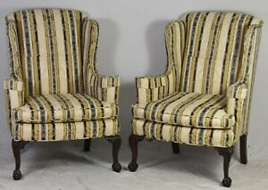 Pair Of Mahogany Chippendale Claw Ball Wing Chairs Damask Williamsburg Look