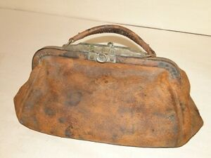 Antique 1877 Nathan Neat Co Boston Leather Doctor Medical Travel Bag Satchel