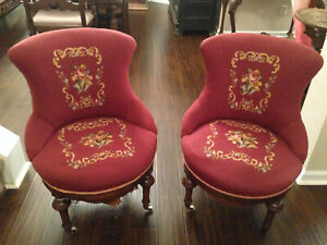 Pair Of 1870 S Victorian Needlepoint Chairs