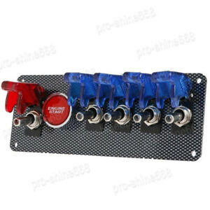 Newest 4 Blue 1 Red Led Toggle Button Panel 12v Racing Car Ignition Switch
