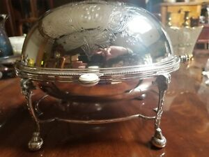 Antique Ca 1860 Victorian Silver Plate Oval Revolving Dome Tureen With 2 Liners