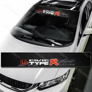 Type R Racing Car Windshield Carbon Fiber Vinyl Banner Decal Sticker Honda Civic