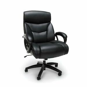 Big Tall 350 Lbs Capacity Black Leathersoft High Back Executive Office Chair