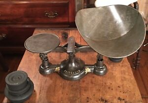 Antique Vintage Fairbanks Counter Cast Iron Scale With Tray