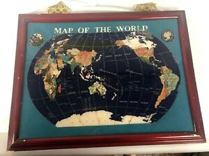 Gemstone Map Of World Inlaid Turquoise Lapis Mother Of Pearl Framed 21x15