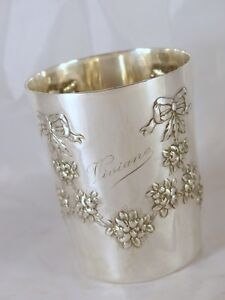 Antique French Sterling Silver Wine Mint Julep Cup Tumbler Timbale Floral 1880