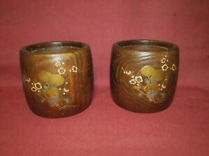 Pair Antique Japanese Lacquer Wood And Copper Planters Hibachis