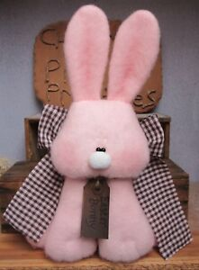 Primitive Easter Pink Bunny Pink And Brown Checked Bow Bowl Fillers Ornies