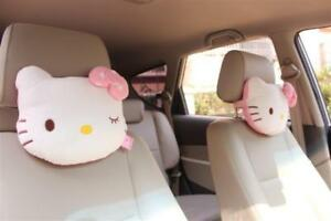 One Pair 2pc Auto Car Hello Kitty Lovely Cute Pillow Headrest Cushion Universal