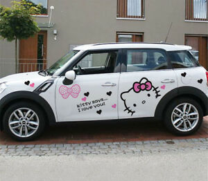Hello Kitty Doors Engine Back Tankcap Rear Viewmirror Car Auto Decal Sticker
