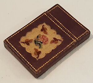 Embroidered Leather Vintage Victorian Antique Card Case Box