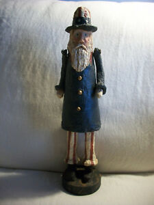Primitive Americana Country Folk Art Uncle Sam Figure Paper Mache 14 Signed