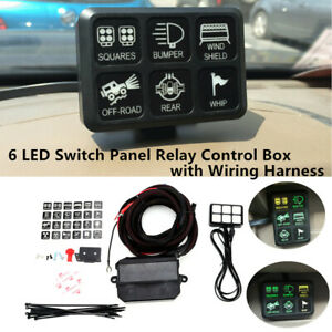 12v Power 6 Gang Led Switch Panel Relay Control Box Wiring Harness Car Boat Rv