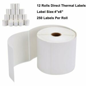 12 Roll 4x6 Direct Thermal Shipping Mailing Postage Labels Zebra 2844 Zp 450 Us