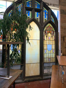 Large Stained Glass Window Salvaged 1915 St Agatha S Church Pennsyl 11 Tall