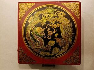 Antique Chinese Portable Compass Lacquered Wooden Case W Brass Pieces 5x5 5x1 5