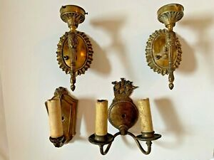 Lot Of 4 Antique Brass Wall Sconces Lights Lamps