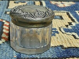 Antique 19th Century Foster Bailey Chased Sterling Silver Glass Dresser Jar