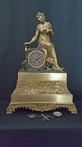 Antique Large 23 5 Gilt Patinated Bronze Clock With Lady On A Rock Cc 1840